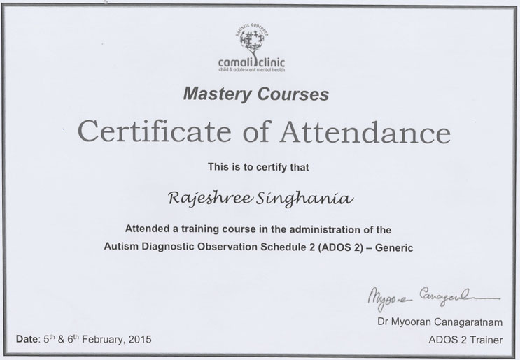Certificate of Attendance in ADOS 2