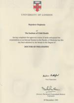 University of London Doctor Philosophy