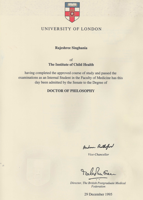 University of London Doctor Philosophy